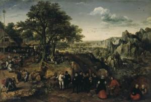 Landschap met een festival van Lucas van Valkenborch 1588